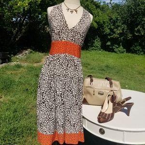 Vintage inspired floral backless dress